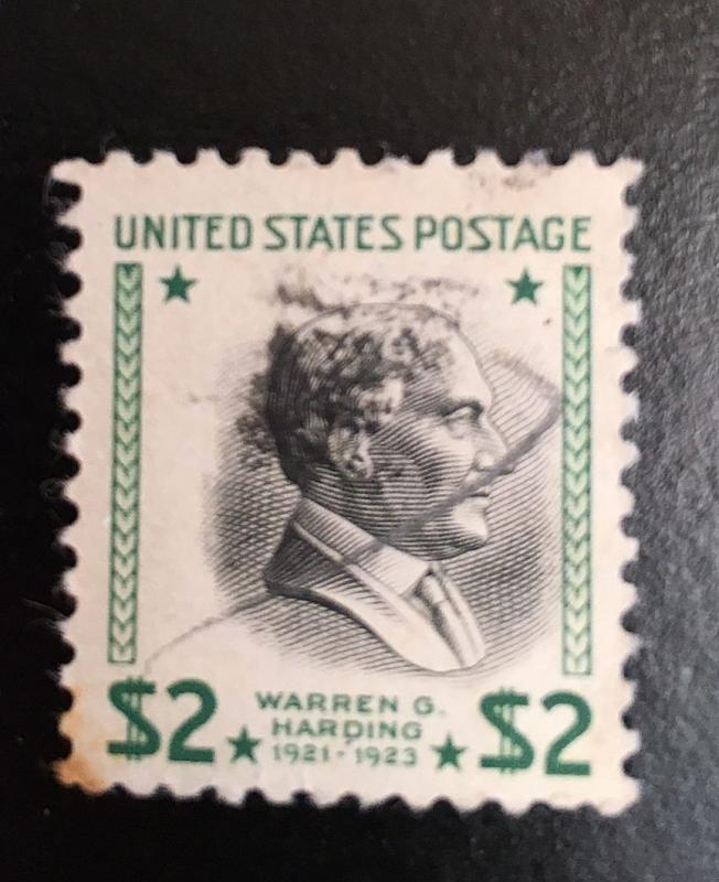 833 Rare Major Error Harding $2 right shift, hair stutter, hand canceled. VF NH