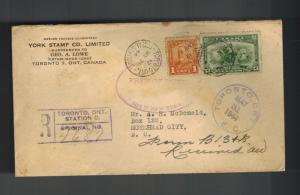 1944 Toronto Canada Registered Duty Free Cover to USA