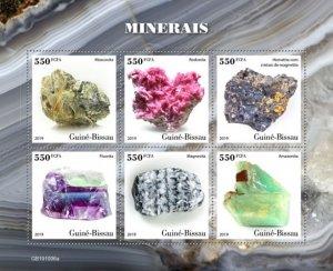 GUINEA BISSAU - 2019 - Minerals - Perf 6v Sheet - M N H