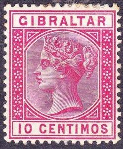GIBRALTAR 1889 QV 10 Centimos Carmine SG23 MH
