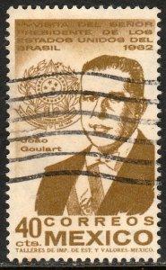MEXICO 921, Visit of President Joao Goulart of Brazil USED. F-VF. (1031)