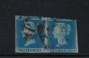GREAT BRITAIN SCOTT #4 1841 2D BLUE IMPERFORATE PAIR - USED