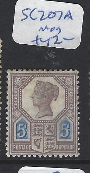GREAT BRITAIN   (PP0512B)  QV 5D JUBILEE SG 207A   MOG