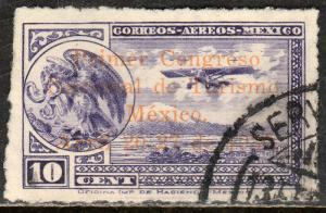 MEXICO C28, 10cts Early Air Mail Plane OVPTD TOURISM CONGRESS USED. F-VF.
