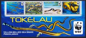 Tokelau WWF Yellow-bellied Sea Snake Bottom strip with WWF Logo SG#420-423