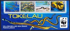 Tokelau WWF Yellow-bellied Sea Snake Bottom strip with WWF Logo SG#420-423