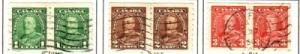 Canada Sc 228-30 1935 G V  coil stamp pairs used