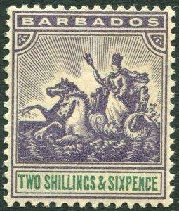 BARBADOS-1905 2/6 Violet & Green Sg 144 light gum toning LIGHTLY MOUNTED MINT