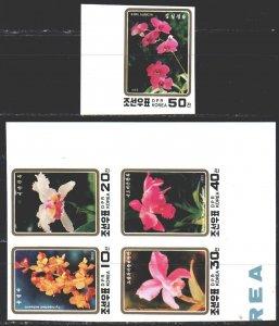 North Korea. 1993. 3495B-99B. Orchids, flowers, flora. MNH.