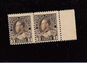 CANADA (MK6707) # 108  FVF-MNH  3cts 1918 KGV ADMIRAL PAIR /BRN/ W MARGIN CV $90