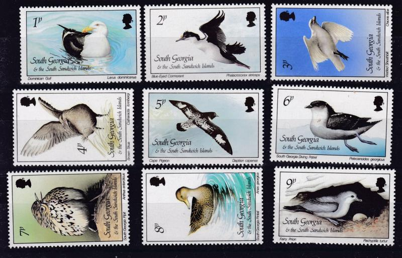 South Georgia 1987 QEII BIRDS Complete (15) in XF/NH(**) Condition  King Penguin