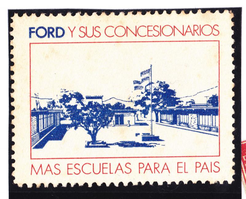 Argentina poster stamp Ford car factory promoting school building