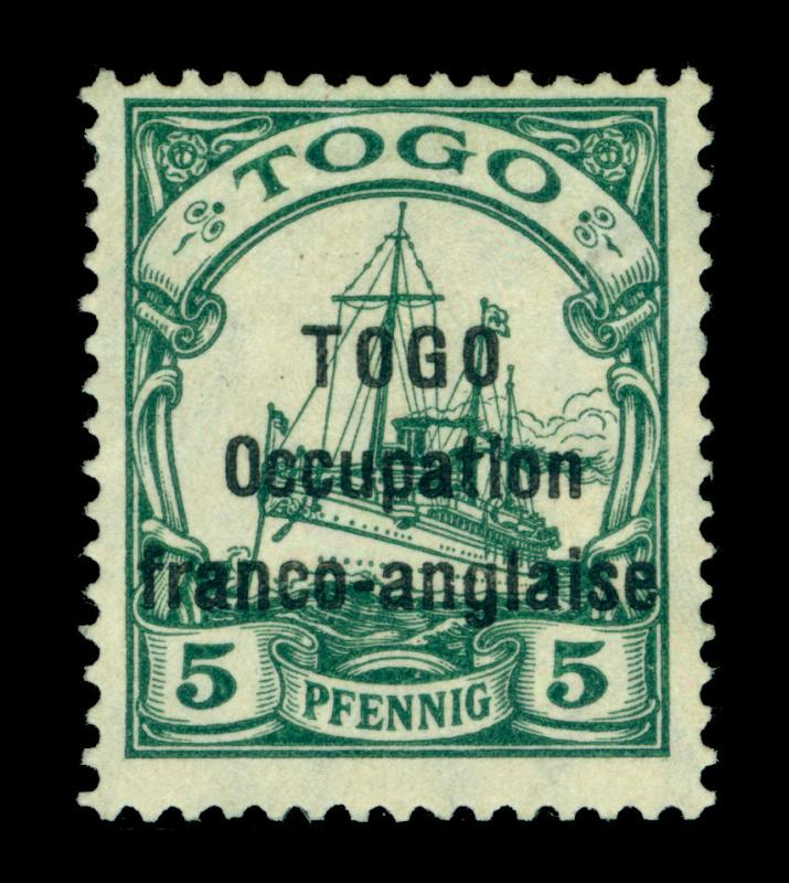 German Colonies - TOGO 1915 Occup franco anglaise Yacht  5pf grn Sc# 165 mint MH