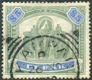 PERAK-1896 $5 Green & Ultramarine.  A fine used example Sg 79