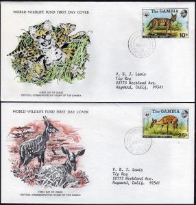 Gambia 341-344 FDC.Michel 332-335. WWF,Abuco Nature Reserve:Cat,Leopard.