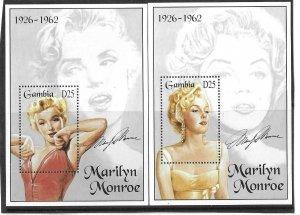 1995    GAMBIA  -  SG.  MS 1928  -  PAIR  -  MARILYN MONROE  -  MNH