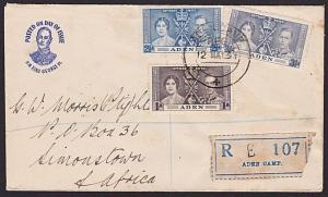 ADEN 1937 Coronation set registered FDC to South Africa.....................6600