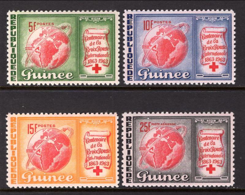 Guinea MNH 309-11,C50 Red Cross Centenary