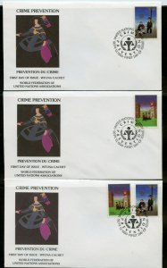 UN 1990 CRIME PREVENTION  WFUNA CACHET BY MANOLO VALDES ON 10 FIRST DAY COVERS