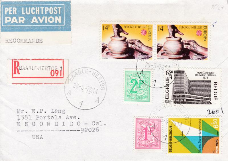Belgium 1976 Registered Airmail Cover with Europa issue. Baarle-Hartog to Calif.