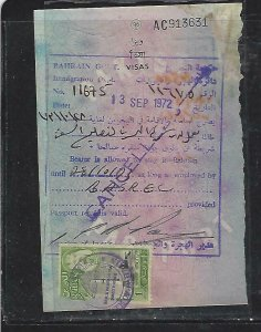 BAHRAIN  (PP2408B)   1972  1D REVENUE X2 ON VISAS EX PASSPORT