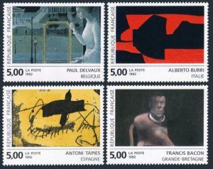 France 2314-2317,MNH.Michel 2927-2930. Art 1992.Delvaux,Burri,Taies,Bacon.