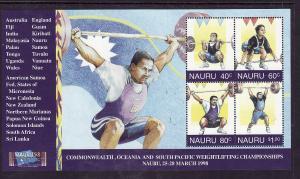 Nauru-Sc#449-Unused NH sheet-Sports-Weight Lifting championships-1998-