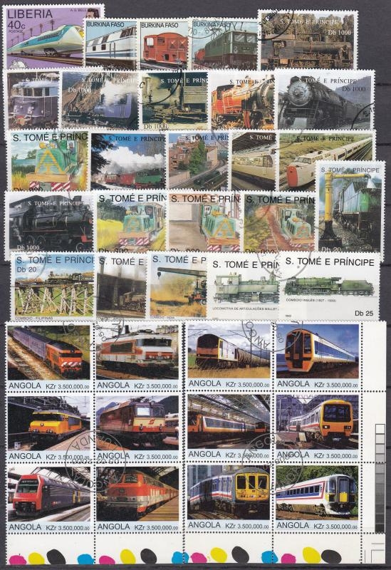 Locomotives - 300 + + small stamp lot - (2203)