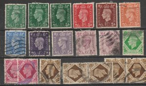 #235-40,263,243-45,248 Great Britain Used George VI