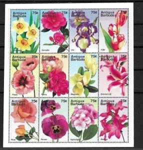 Antigua & Barbuda MNH S/S 1928 Flowers 1995 12 Stamps