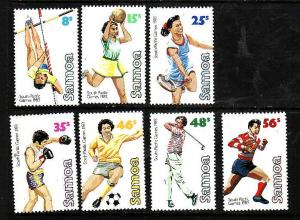 Samoa-Sc#592-9 ex #595-Unused NH set-South Pacific Games-Sports-1983-