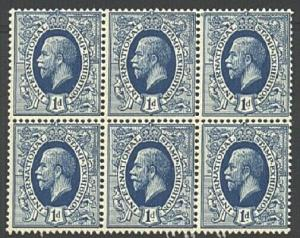 GB 1912 GV 'Ideal Stamp' essay - block of 6 MNH...........................21959a