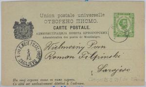 65979 MONTENEGRO  - POSTAL STATIONERY CARD to SARAJEVO 1893  P9