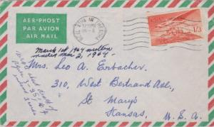 Ireland 1/3 Angel Over Caiseal 1964 Baile Atha Fheadha Airmail to St. Mary's,...
