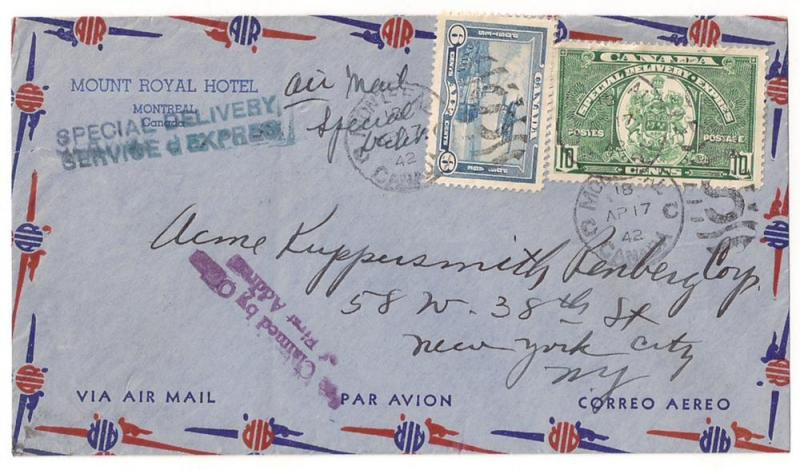 CANADA #C6 & E7 on Special Delivery cover to NYC USA Nice!