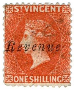 (I.B) St Vincent Revenue : Duty Stamp 1/- (1883)