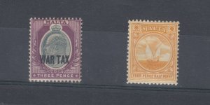 Malta 1918 3d War Tax O/P Plus 4 1/2d MNH/MH J9011