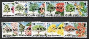 MONTSERRAT SGO7/16 1975 OHMS OVERPRINT SET FINE USED