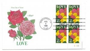 2379 45c Love 1988 Artmaster plate block, FDC