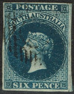 SOUTH AUSTRALIA 1855 QV 6D LONDON PRINTING IMPERF USED