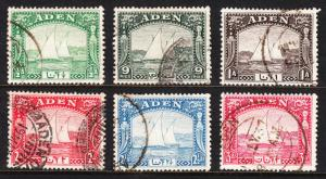 ADEN — SCOTT 1//6 (SG 1//6) — 1937 DHOW ISSUES — USED — SCV $22.00