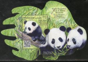 Malaysia 2016 Seven Wonders of Flora Fauna Panda Odd Shaped Perf M/s MNH # 5051