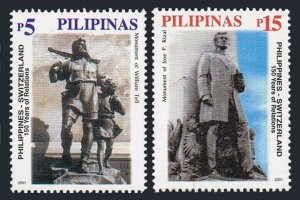 Philippines 2759-2760,MNH. Philippines - Switzerland relations,150th Ann.2001.