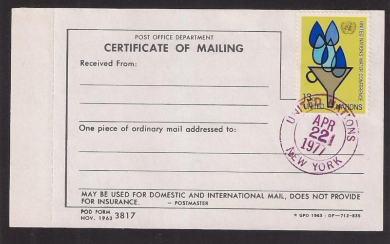 UN: #283 13c Water 1st day cncl USPS Certificate of Mailing / HipStamp