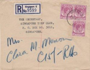 Singapore 10c KGVI (3) 1955 Singapore Registered Local use. Small creases. EU...