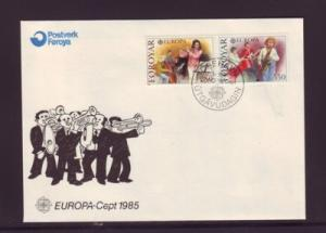 Faroe Islands Sc125-6 1985 Europa Music stamps FDC
