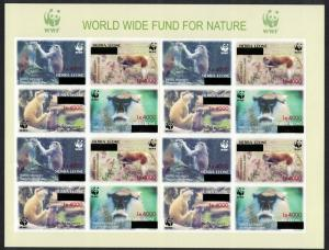 Sierra Leone WWF Patas Monkey IMPERF Sheetlet of 4 sets with overprint RARR
