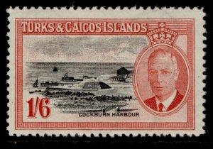 TURKS & CAICOS ISLANDS GVI SG230, 1s 6d black & scarlet, M MINT. Cat £16.