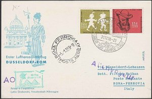 GERMANY 1968 Lufthansa first flight cover to Rome - AO marking..............F980