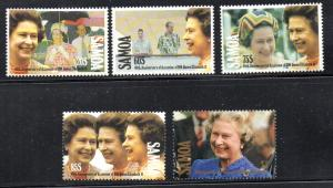 Samoa Sc 805-9 1992 40th Anniversary QE II stamp set mint NH